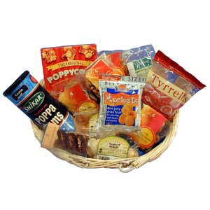 Gift basket packed full of snacks and nibbles