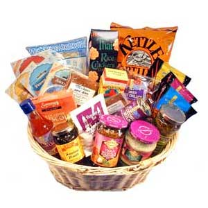 Gift basket packed full of spicy foods and ingredients