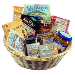 Gift basket packed full of foods and ingredients for a vegetarian